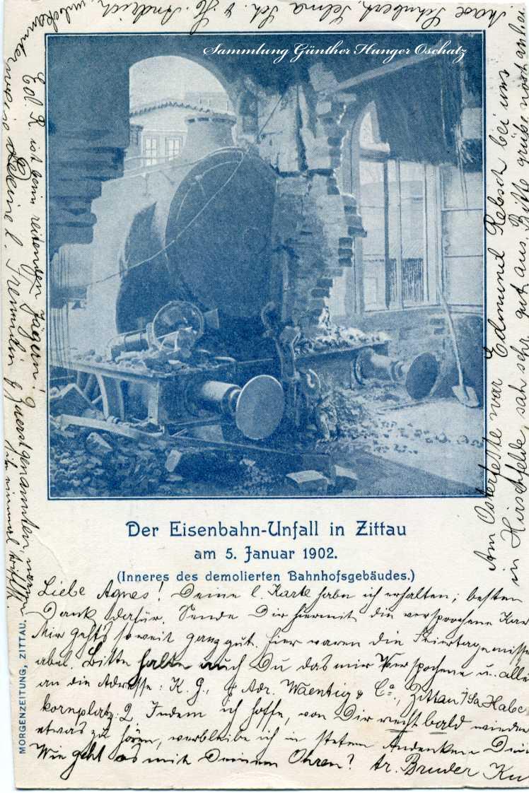 Der Eisenbahn-Unfall Zittau 1902 Inneres des demolierten Bahnhofsgebäudes
