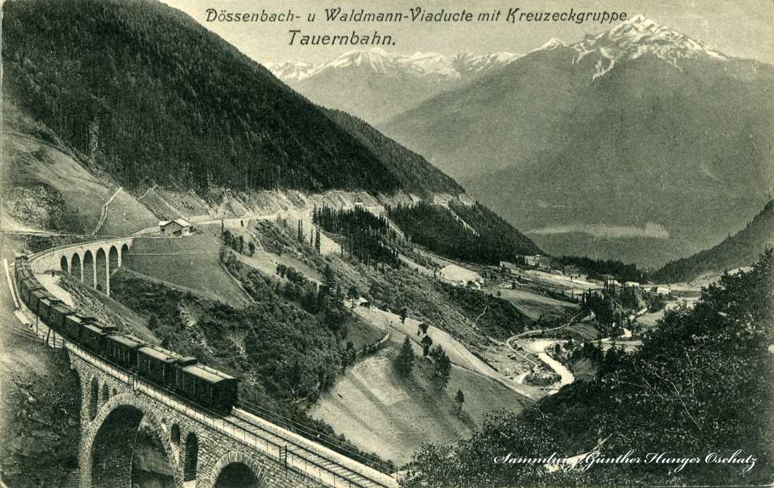 Dösenbach- und Waldmann-Viaducte mit Kreuzeckgruppe Tauernbahn