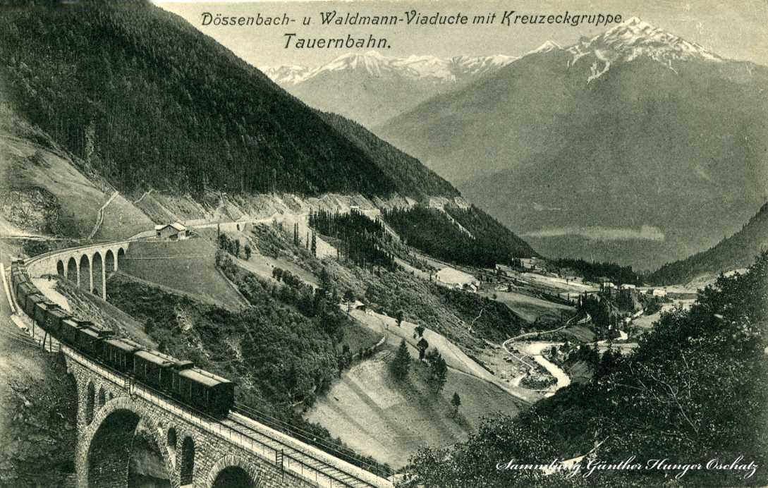 Dössenbach- u. Waldmann-Viaducte mit Kreuzeckgruppe