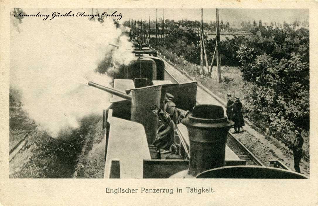 Englischer Panzerzug in Tätigkeit