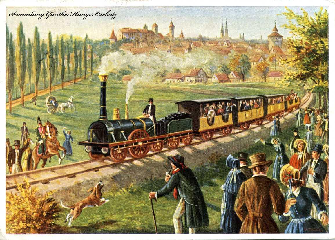 Erste deutsche Eisenbahn zw. Nürnberg und Fürth 1835