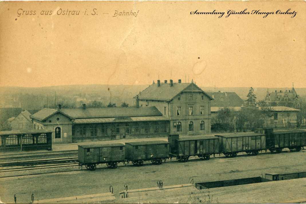 Gruß aus Ostrau i. Sa. Bahnhof