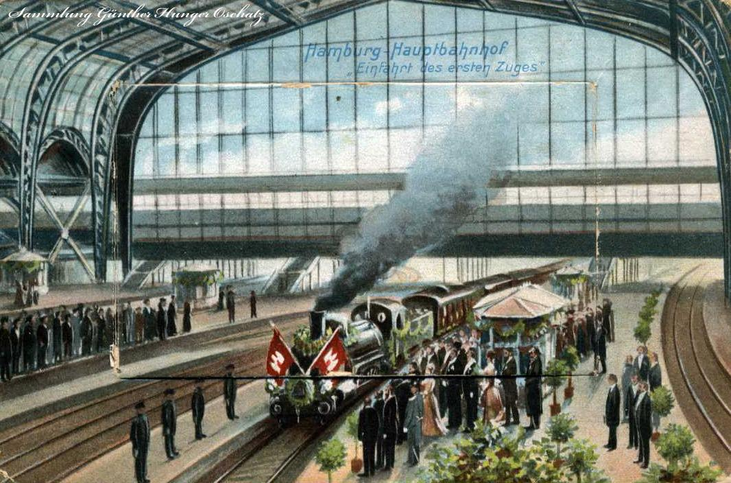 Hamburg-Hauptbahnhof Einfahrt des erste Zuges