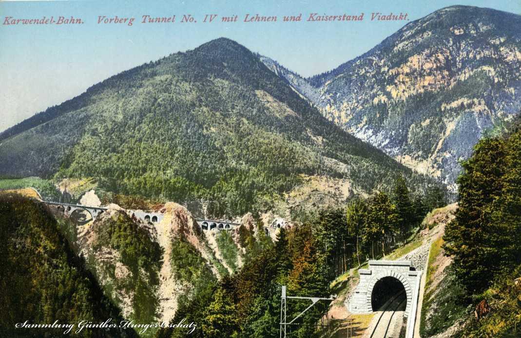 Karwendel-Bahn Vorberg Tunnel No. IV mit Lehnen und Kiserstand Viadukt
