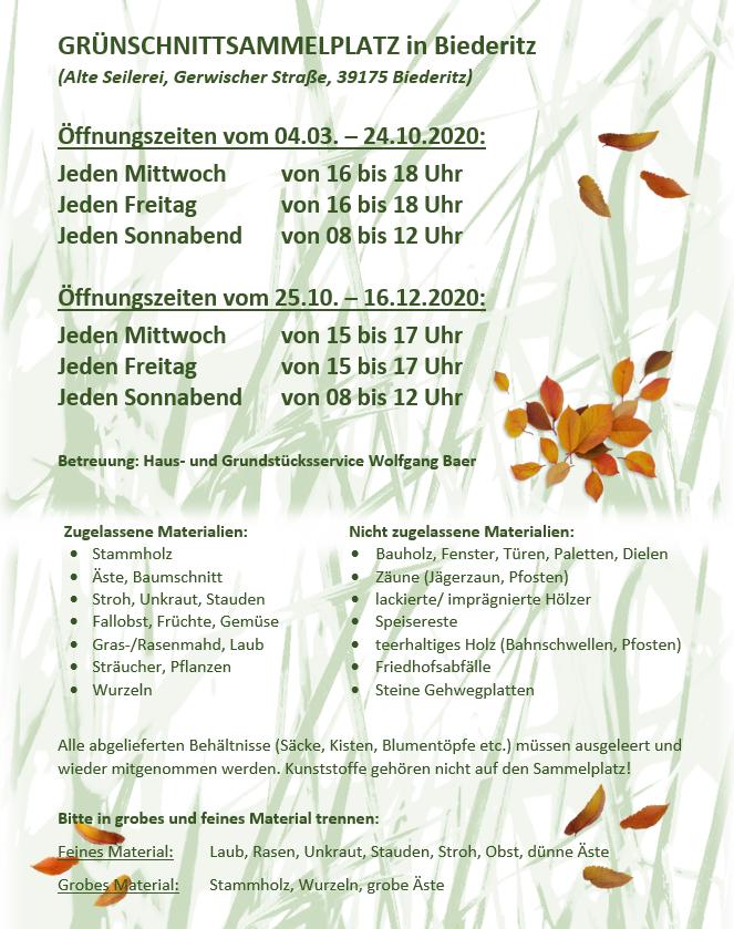 GRÜNSCHNITTSAMMELPLATZ in Biederitz 2020