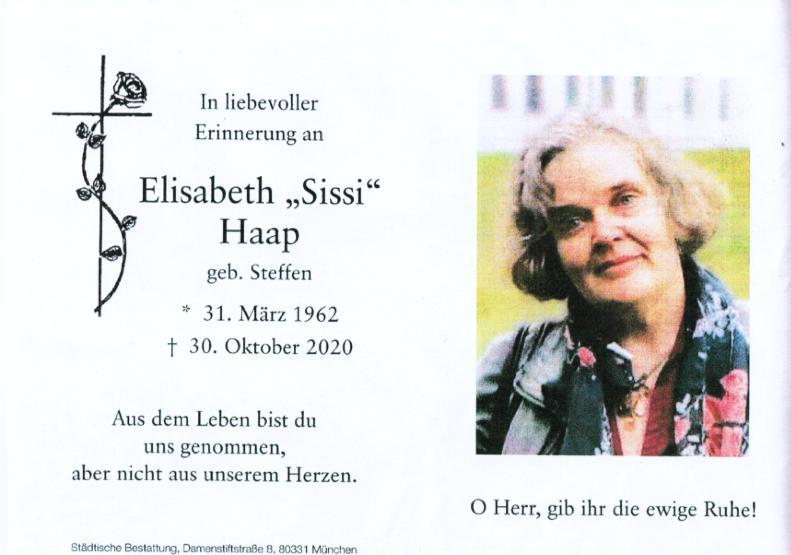 Traueranzeige Elisabeth Haap