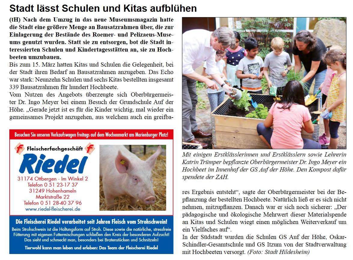 Artikel aus Stadtteilzeitung ADH - Juli 2021 - Hochbeete