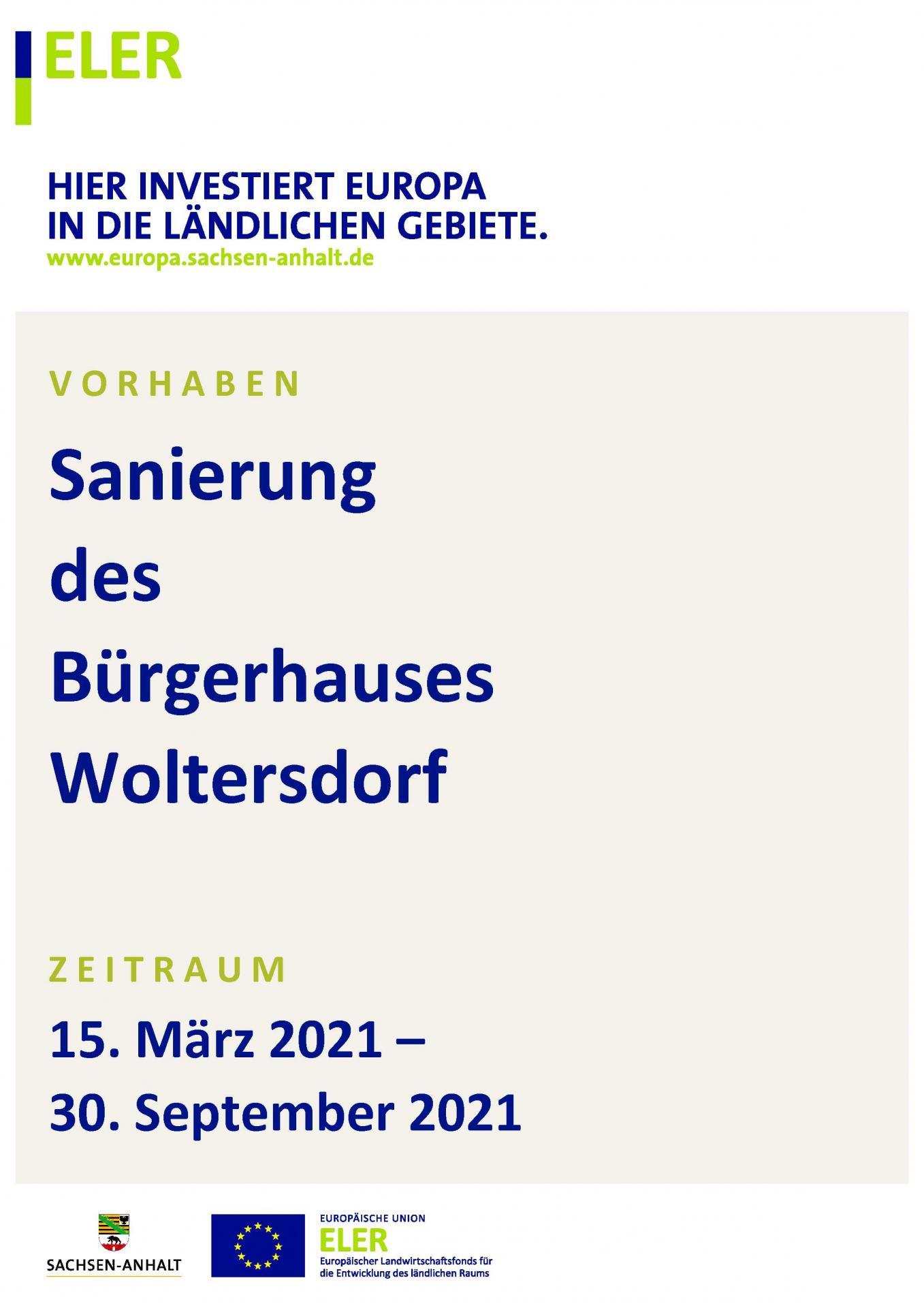 Sanierung  des Bürgerhauses Woltersdorf