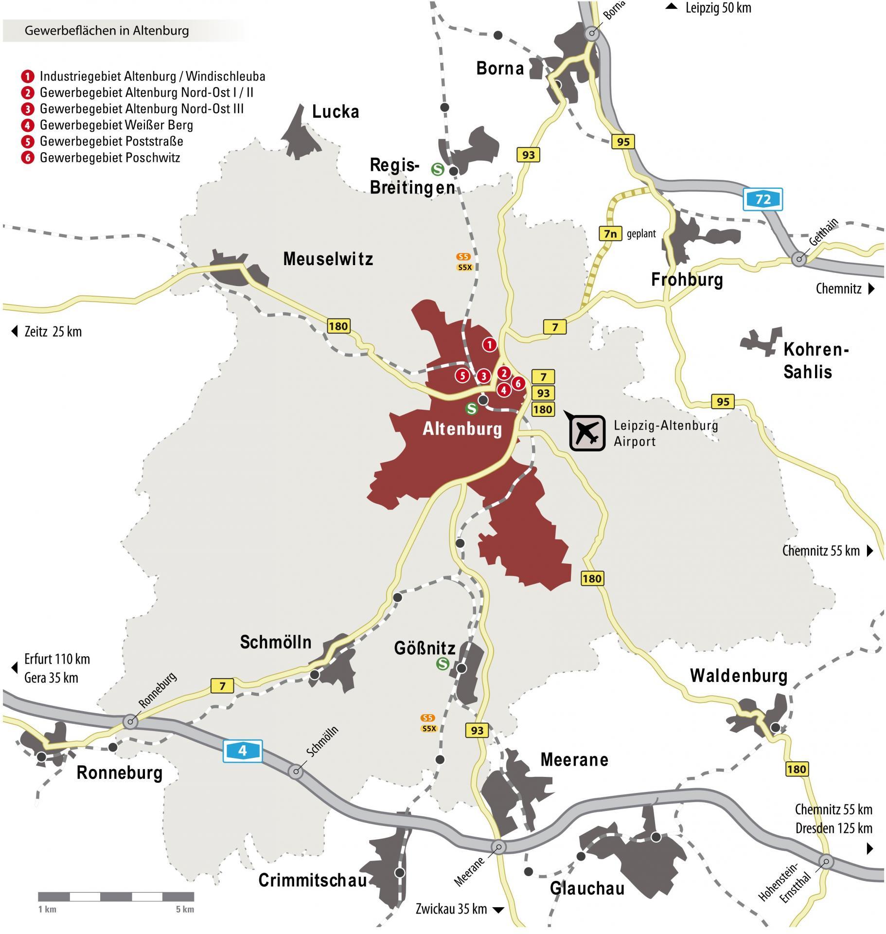 Altenburg Karte Gewerbegebiete