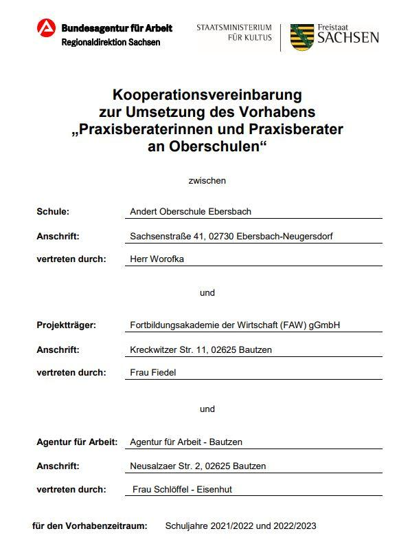 Kooperationsvereinbarung Projekt Praxisberater
