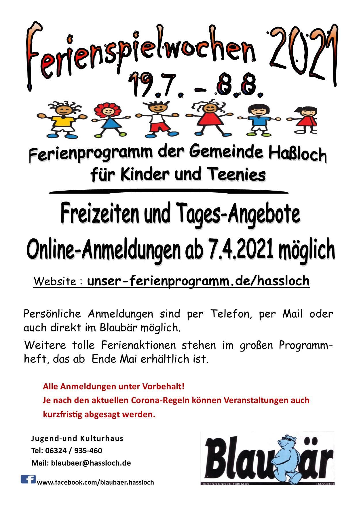 Online-Anmeldungen 2021