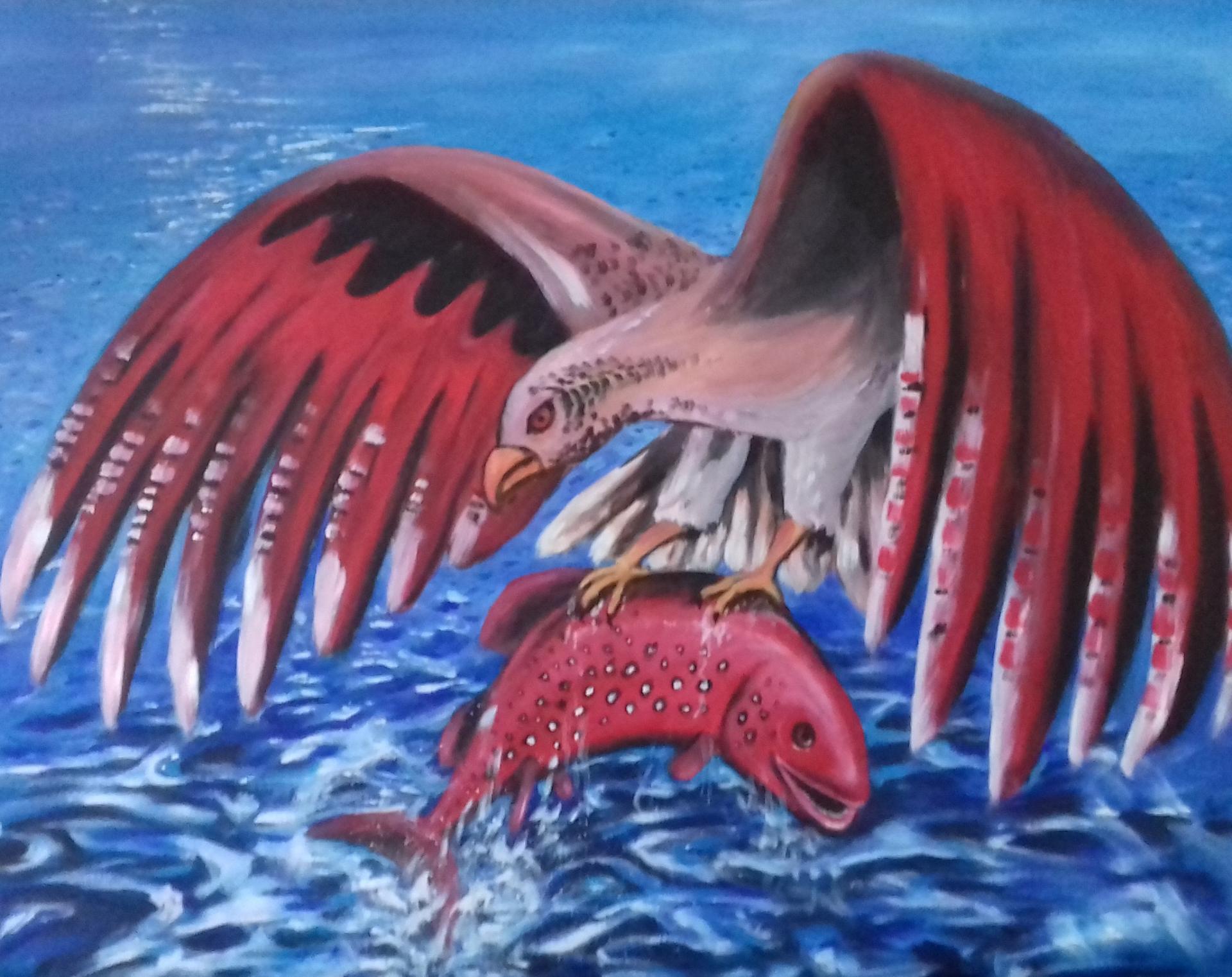 Fliegender Fisch   2019   Acryl auf Leinwand   80 x 100 cm