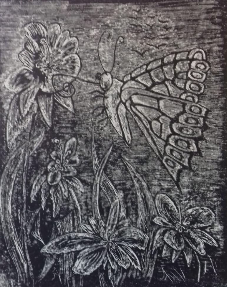 Nektar   2019   Zementsteindruck   40 x 50 cm