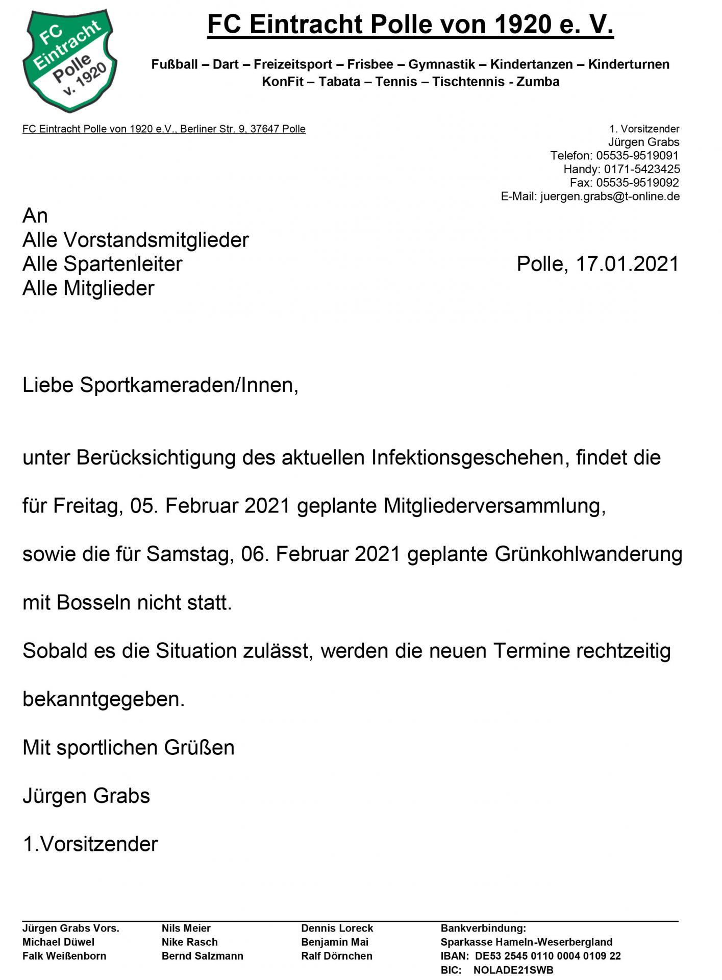 2021.01.17 FC Eintracht Polle - Absage der Mitgliederversammlung