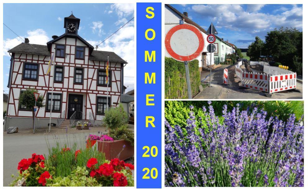 Sommer 2020; auch bei Bauarbeiten blühende Farbtupfer in der Ortslage,