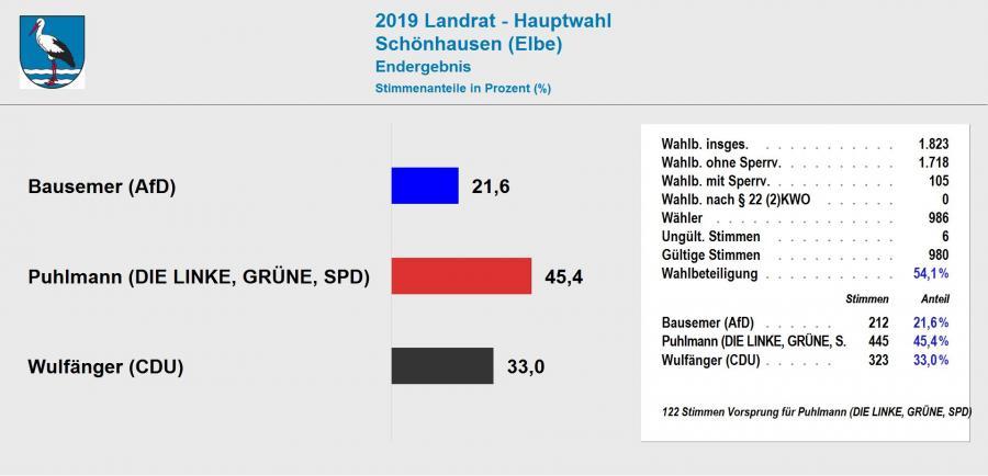 Ergebnis Landratswahl 2019 Schönhausen