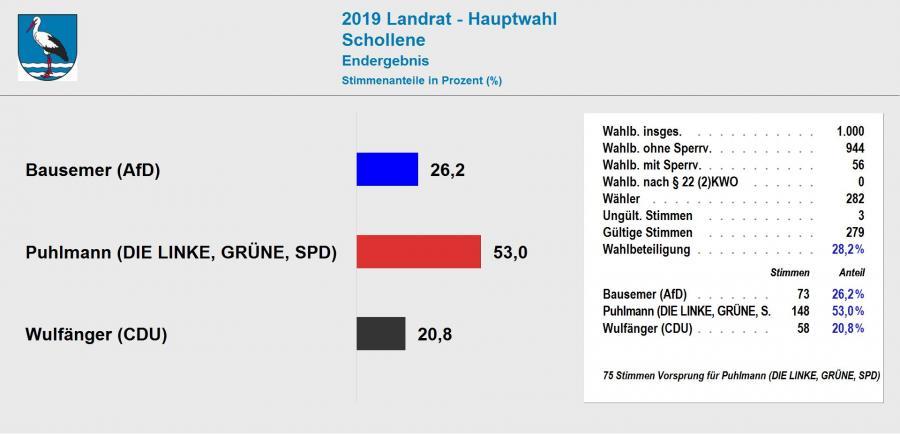 Ergebnis Landratswahl 2019 Schollene