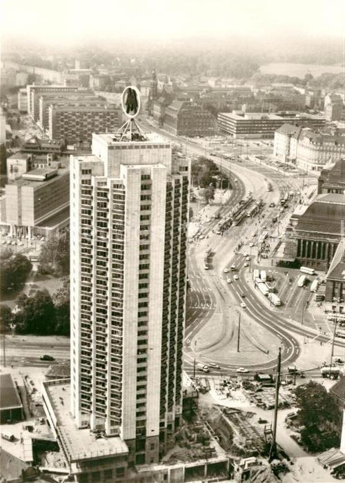 Das Hochhaus in der Bauphase 1973