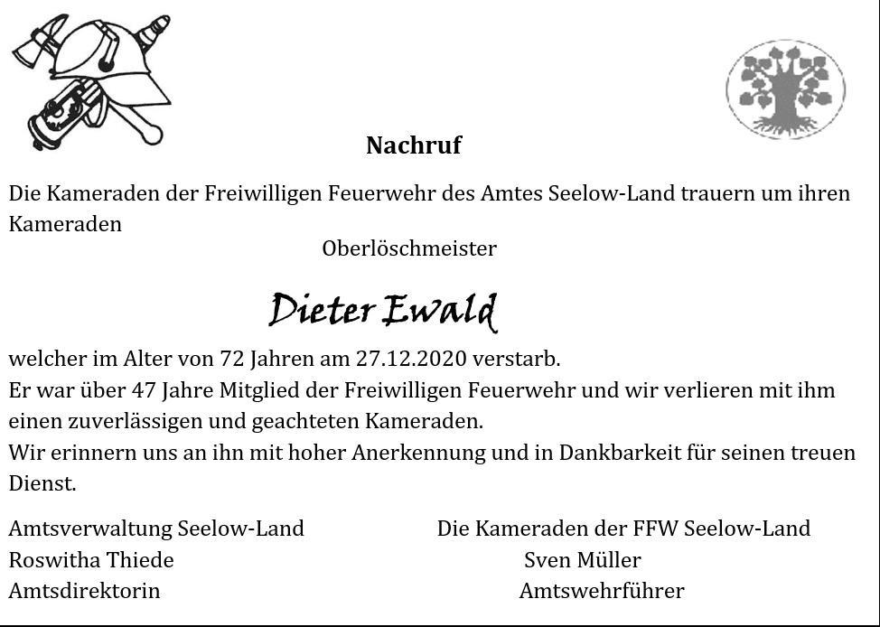 Nachruf Dieter Ewald