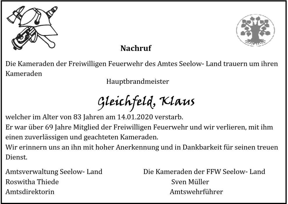 Nachruf Klaus Gleichfeld