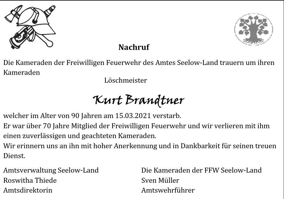 Nachruf Kurt Brandtner
