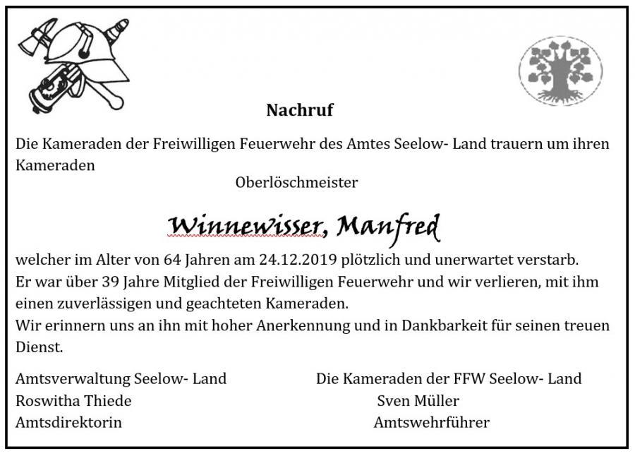 Nachruf Manfred Winnewisser