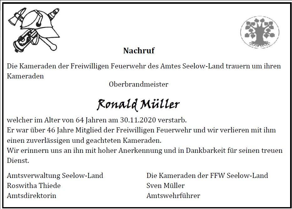 Nachruf Ronald Müller
