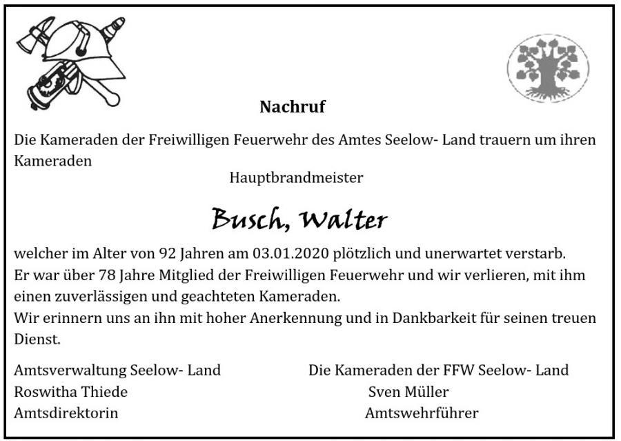 Nachruf Walter Busch