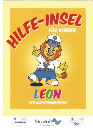 Das Bild zeigt das Logo der Hilfe-Insel für Kinder von Leon dem Kinderkommissar.