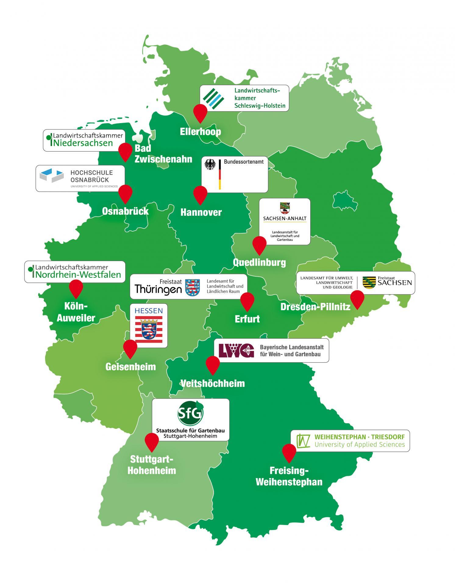 Übersichtskarte über die Standorte der Bundesgehölzsichtung