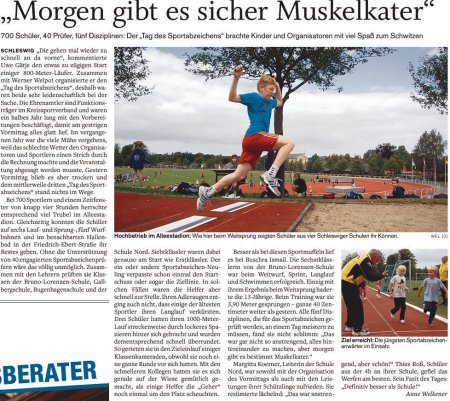 Artikel SHZ Sporttag