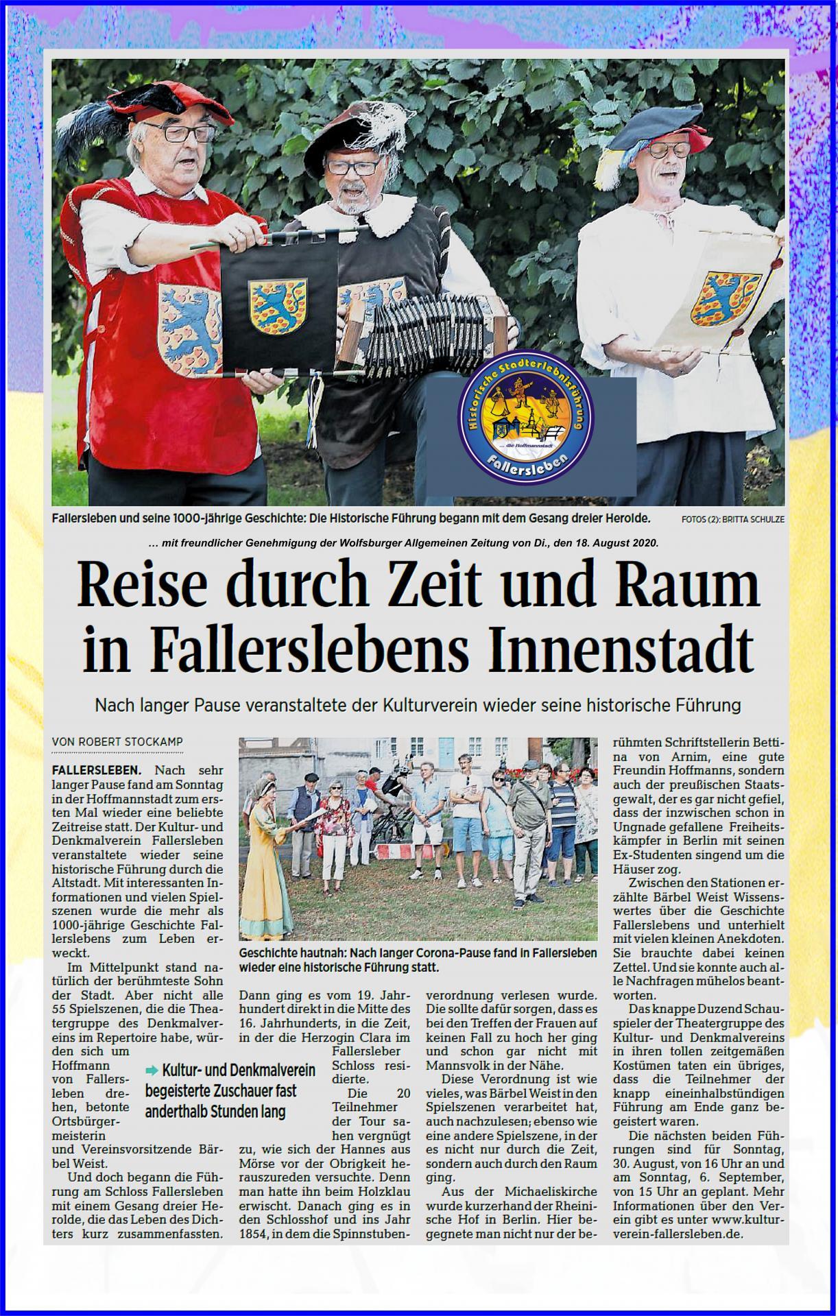 Erste Stadtführung durch Fallersleben am So., 16.08.2020