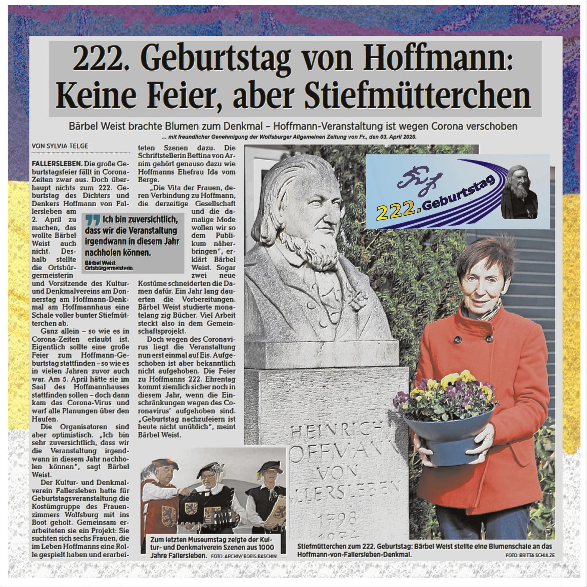 Absage 222.Geburtstagsfeier von Hoffmann von Fallersleben