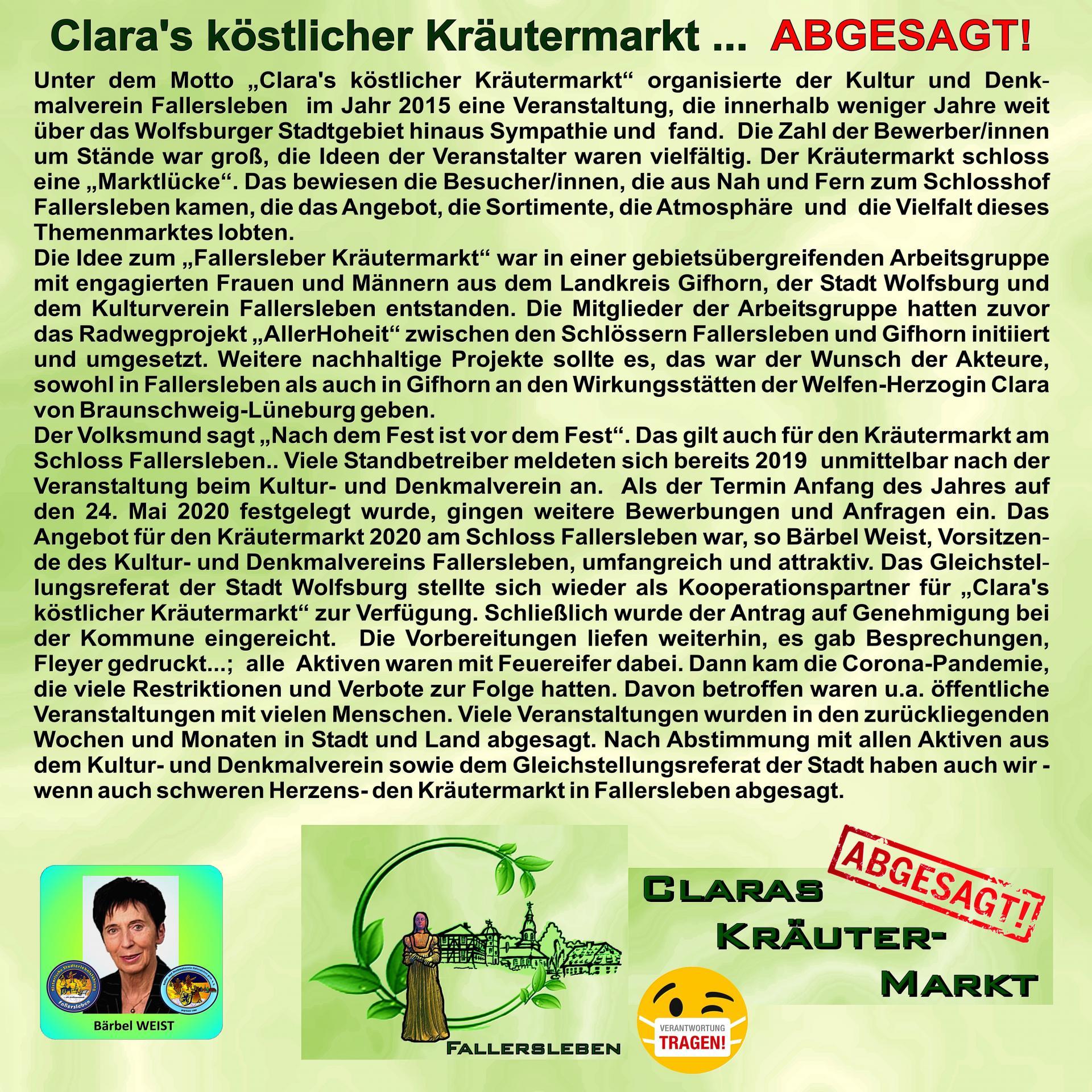 Absage Kräutermarkt Fallersleben