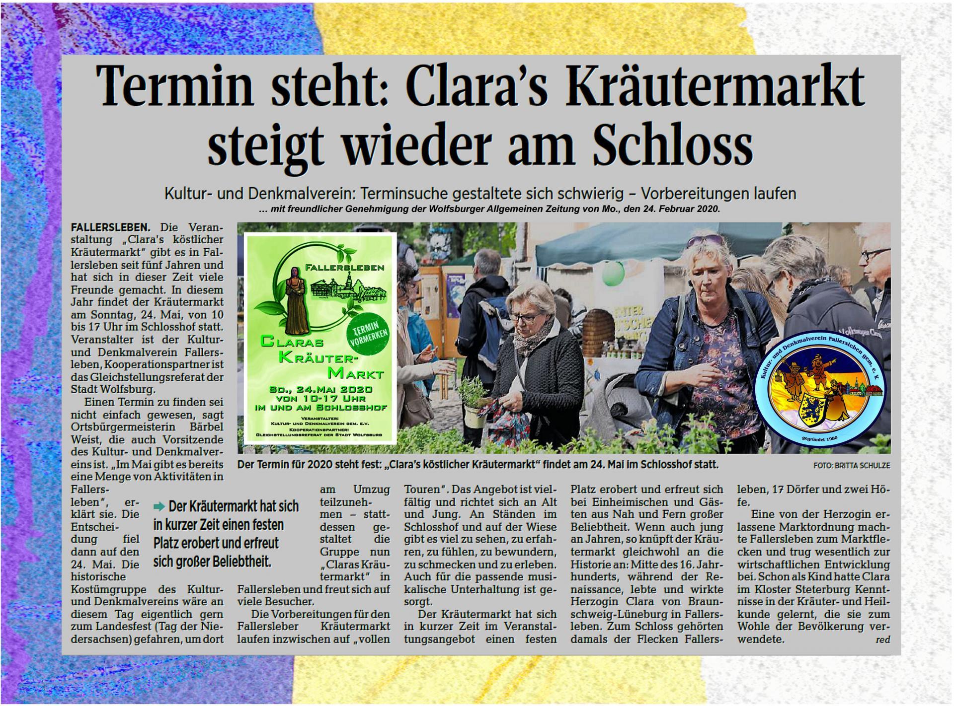 Ankündigung Claras Kräutermarkt 2020