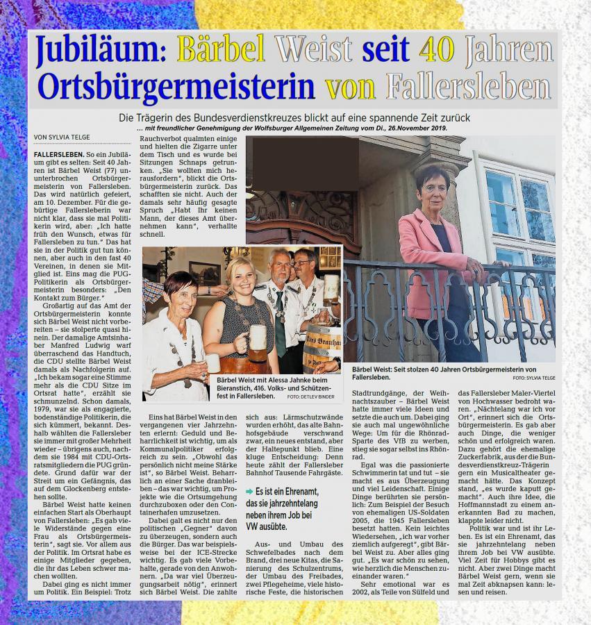 Zeitungsbericht WAZ 40 Jahre Ortsbürgermeisterin Bärbel Weist