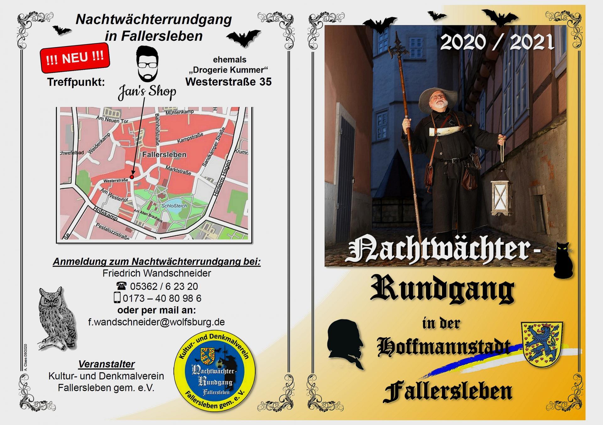 Flyer Nachtwächterrundgänge 2020/21