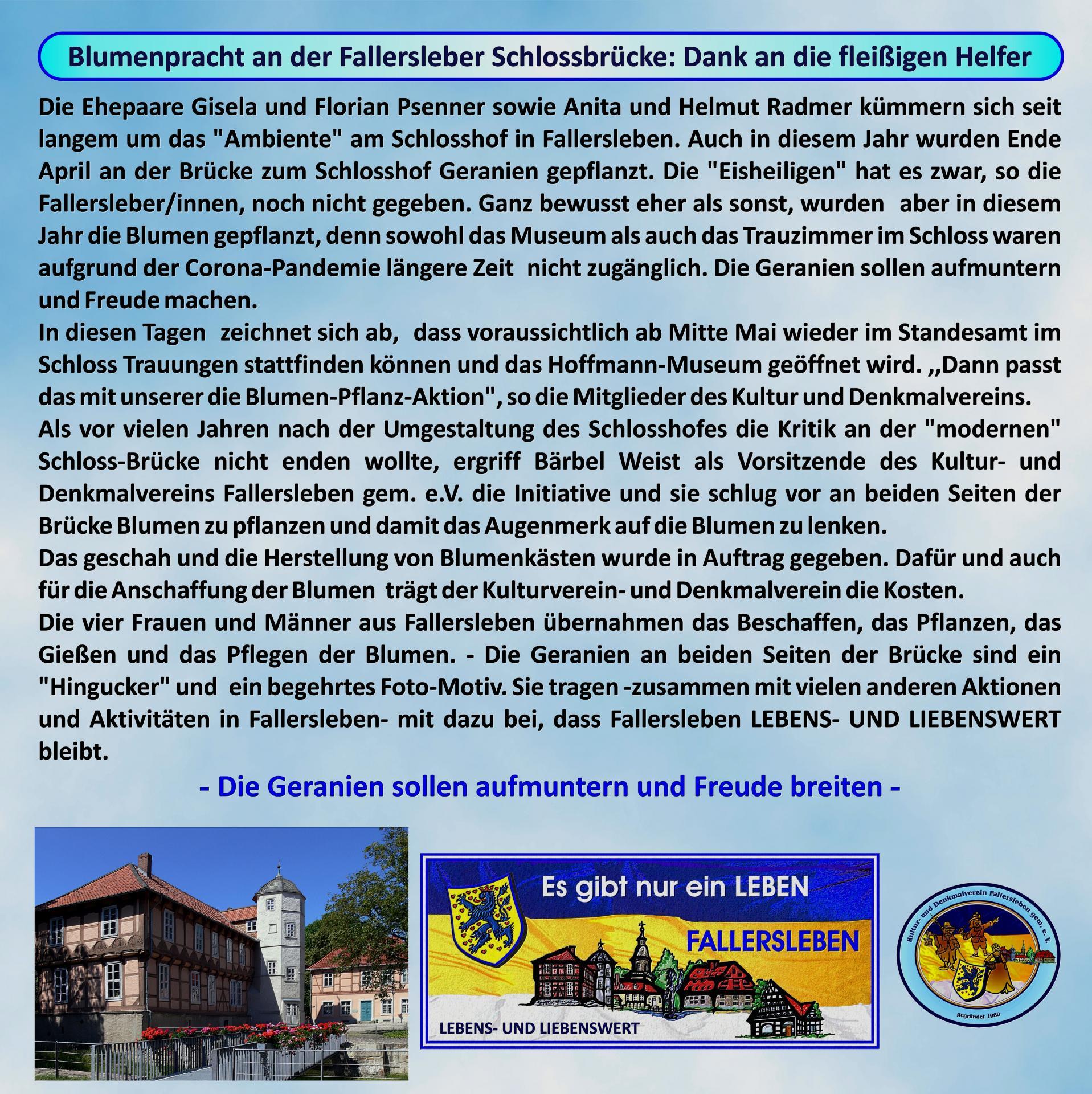 Geranien Schlossbrücke Fallersleben