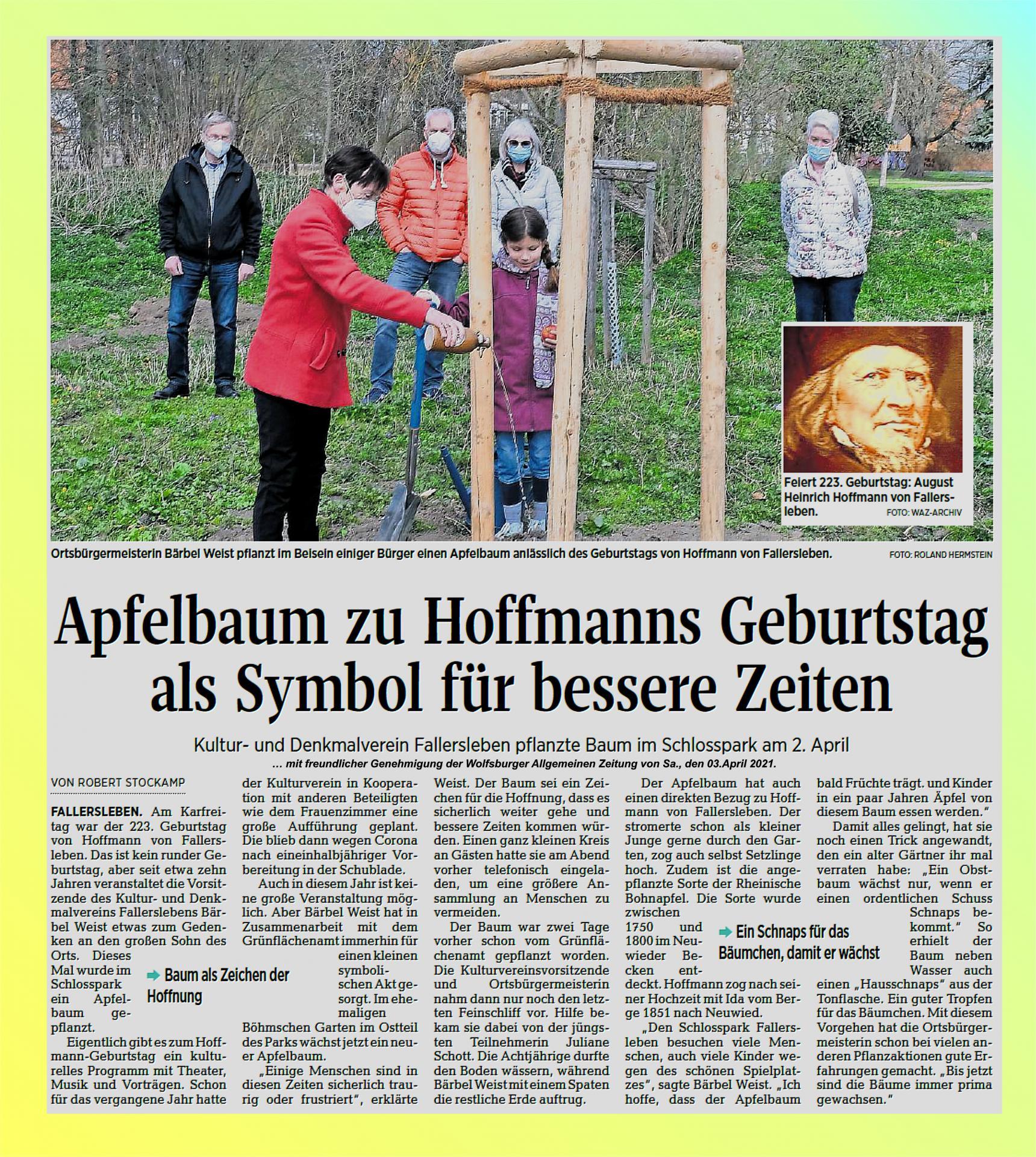 Artikel aus der WAZ über Pflanzaktion zu Hoffmanngeburtstag 2021