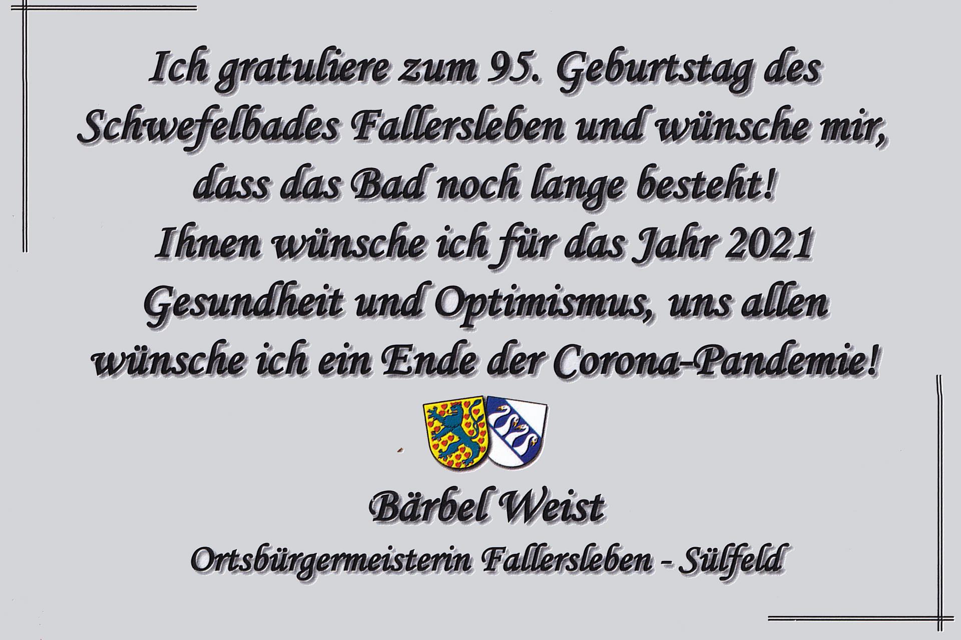 Karte 95 Jahre Schwefelbad Fallersleben