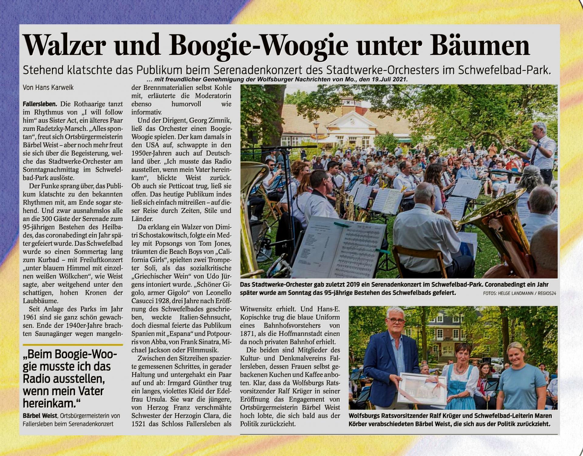 Bericht aus den Wolfsburger Nachrichten zum Serenadenkonzert 2021