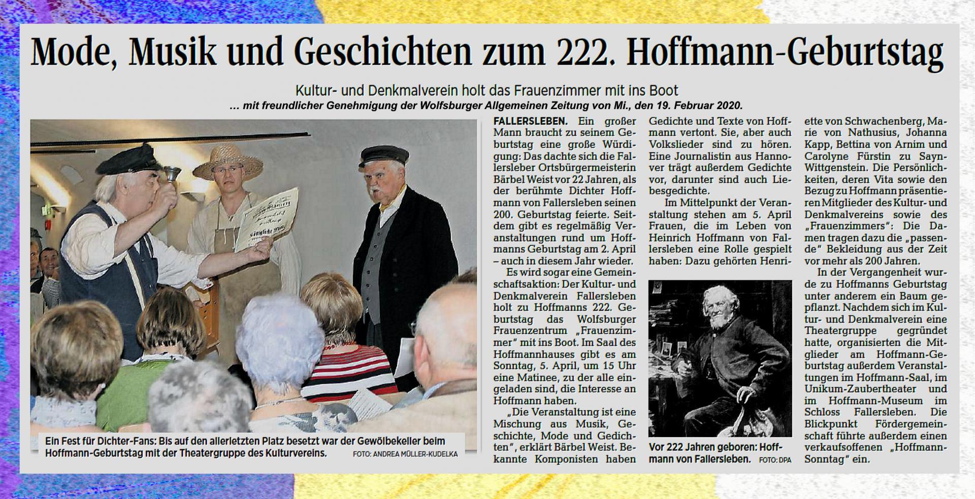 Matinee zum 222. Geburtstag von Hoffmann von Fallerslebenam