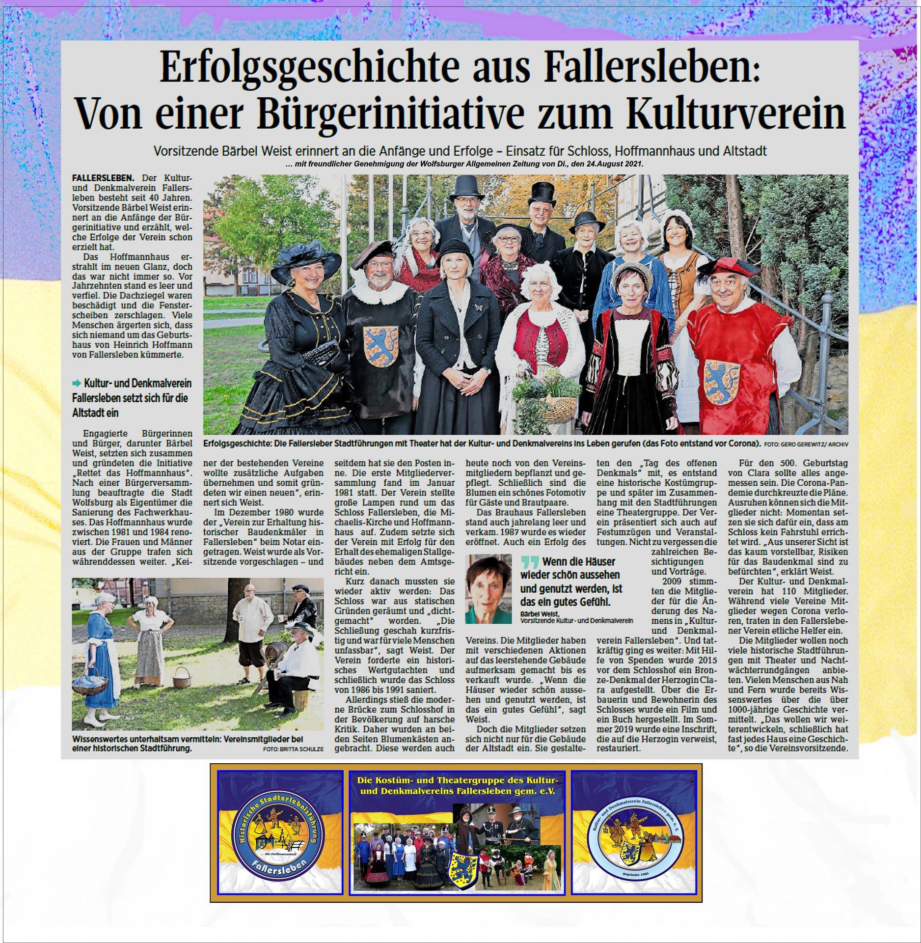 40 Jahre Kultur- und Denkmalverein Fallersleben gem. e.V.