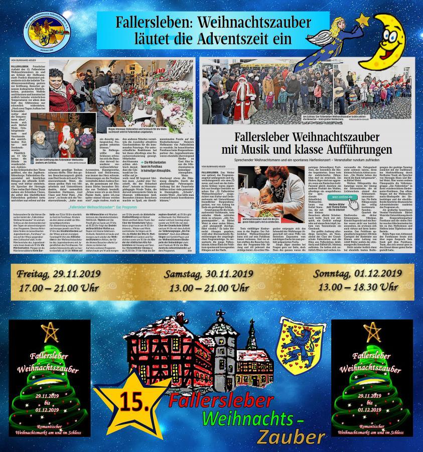 Zeitungsbericht vom 15. Fallersleber Weihnachtszauber