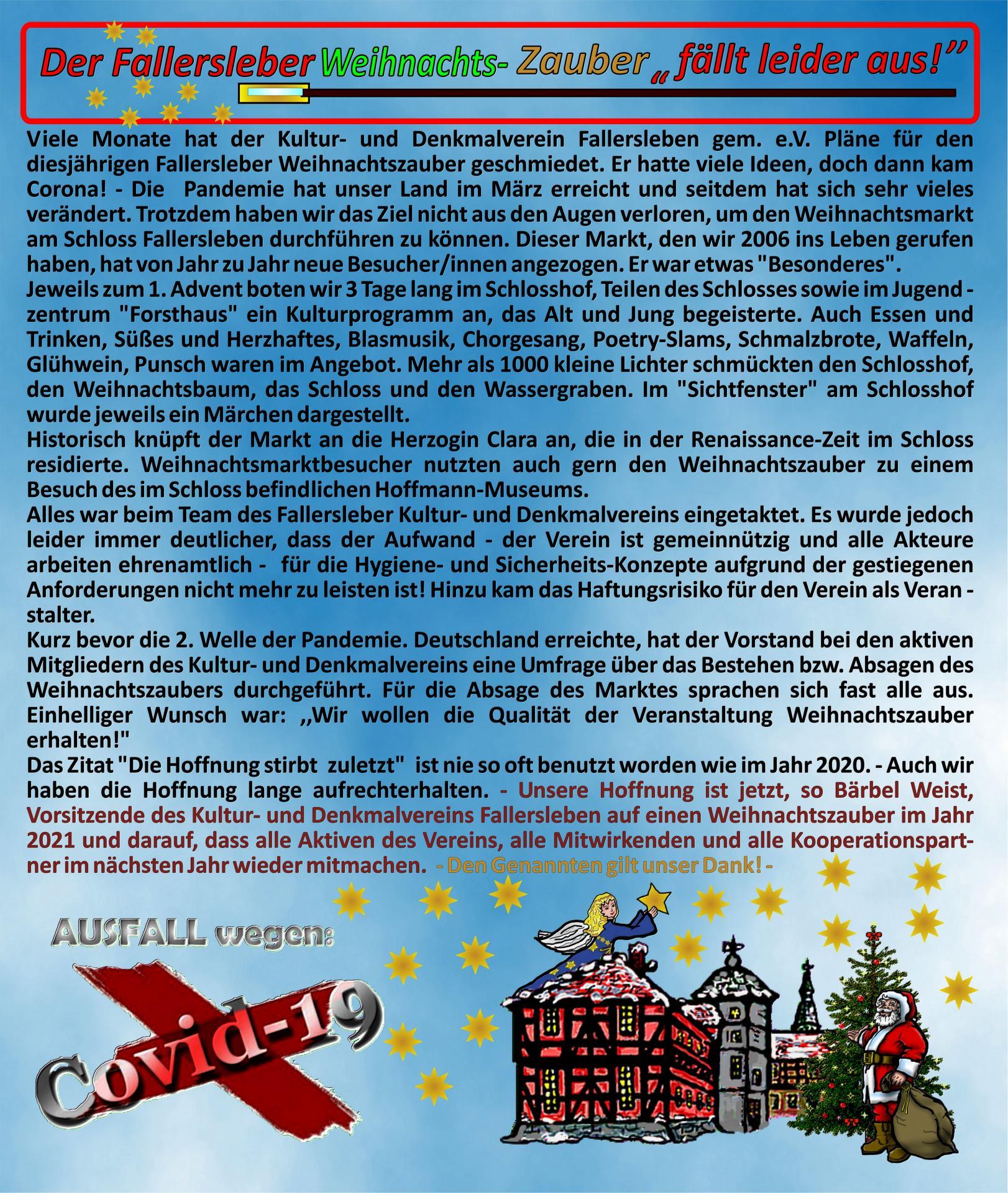 Absage Weihnachtszauber Fallersleben