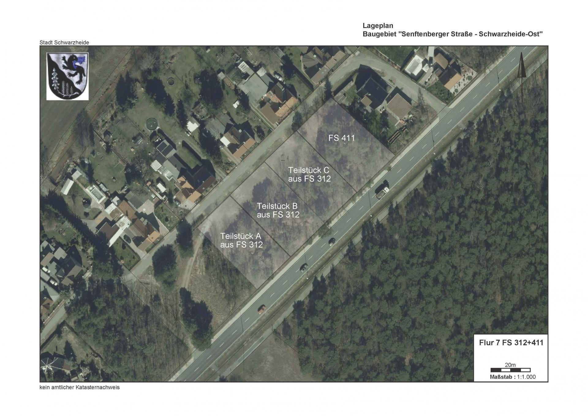 Satellitenbild Baugrundstück Schwarzheide Ost