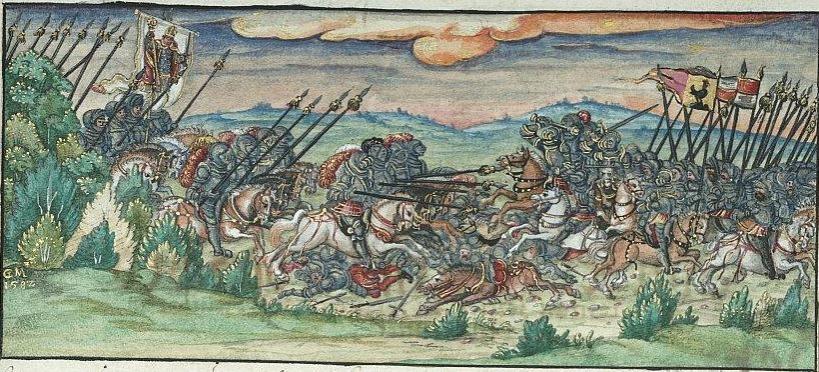 Cyriakusschlacht, Darstellung des Lorenz Fries, 16. Jahrhundert (UB Würzburg).