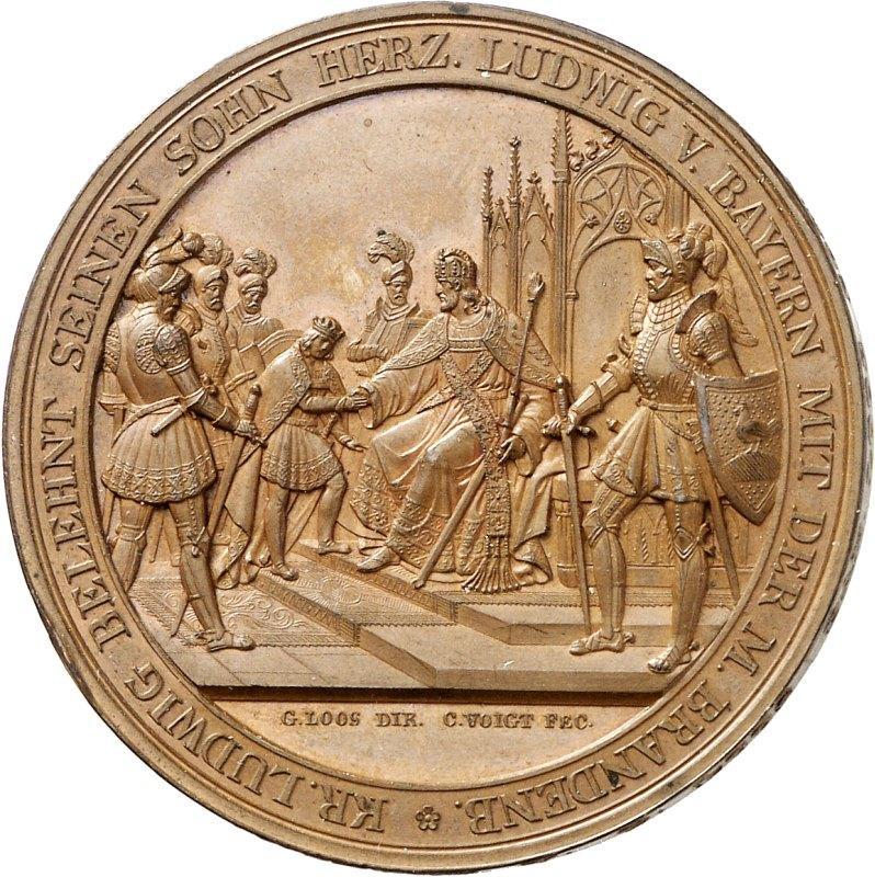 Belehnung des Kaisersohns Ludwig mit der Mark Brandenburg (1323), vorn im Bild: Graf Berthold VII. mit Hennenschild. Medaille aus der Regionalgeschichtlichen Sammlung, G 913, V 2351.