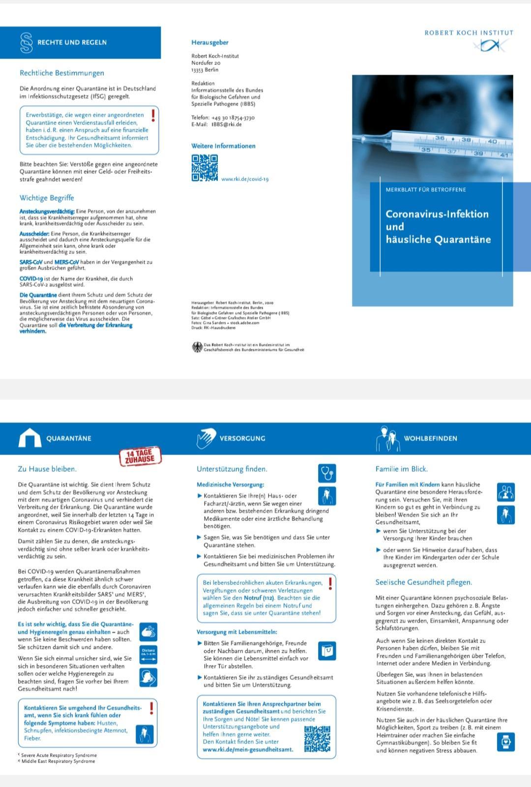 Coronavirus-Infektion und häusliche Quarantäne