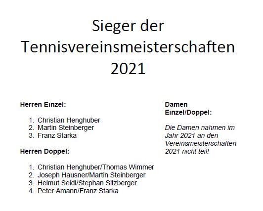 TennisVereinsmeister 2021